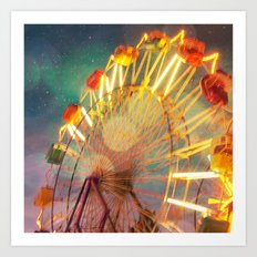 Ride the Night Sky carnival ferris wheel Art Print