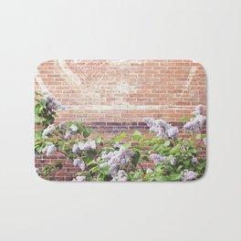 Vintage Advertisement and Lilacs Bath Mat