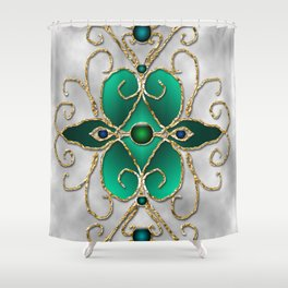 Filigree in teal and gray Shower Curtain