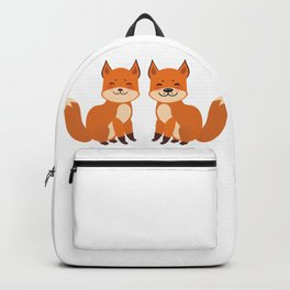 cute fox, boy and girl with funny face and fluffy tails on white background Backpack