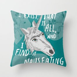 The Existentialist Unicorn Throw Pillow