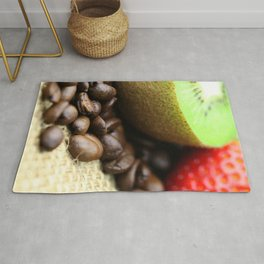 Kaffeebohnen Kivi Erdbeere Coffee beans strawberry Rug