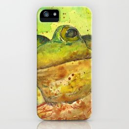 Frog In Tree Original Watercolor Painting Abstract Frog Art Animal Painting iPhone Case