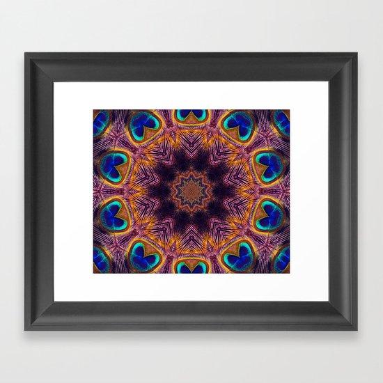 Peacock Fan Star Abstract Framed Art Print
