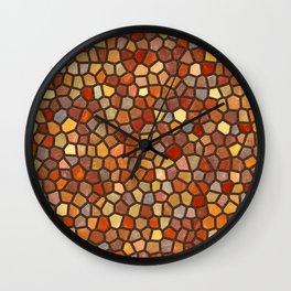 Fall Colors Mosaic Pattern - dark Wall Clock