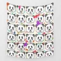 cookies Wall Tapestries featuring splatter pop panda cookies by Sharon Turner