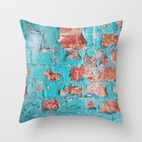 the neighbourhood Throw Pillows featuring brick by Claudia Drossert