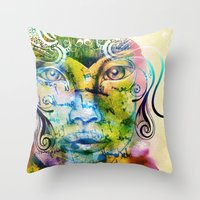 fairy tale Throw Pillows featuring Fairy Tale by Irmak Akcadogan