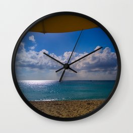 Seaside Under Umbrellas Wall Clock