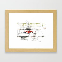 THE FOX IN THE BATHTUB Framed Art Print