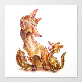 Tender moment Fox and Cub Canvas Print