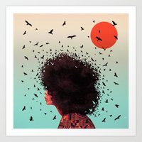 erykah badu Art Prints featuring Erykah by Kaikoo