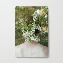 Girl with flowers in hair Metal Print