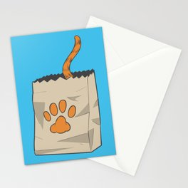 Hand Drawn Cat in the Bag Stationery Cards