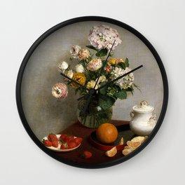 Henri Fantin-Latour - Flowers and Fruit Wall Clock