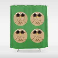 owls Shower Curtains featuring owls by kourai