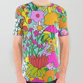 60's Groovy Garden in Blue All Over Graphic Tee