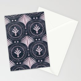 Blush Pink Art Deco Retro Pattern On Dark Blue Velvet Stationery Cards