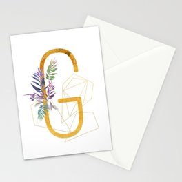 Modern glamorous personalized gold initial letter G, Custom initial name monogram gold alphabet prin Stationery Cards