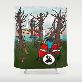 Salty Raven Drummer from Flock of Gerrys Gerry Loves Tacos by Seasons Kaz Sparks Shower Curtain