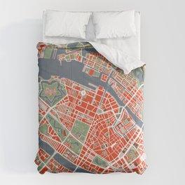 Copenhagen city map classic Comforters