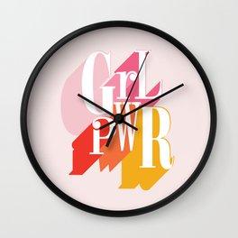 GRL PWR - GIRL POWER, Feminism typography Wall Clock