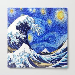 The Wave Starry Night Metal Print