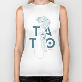 TATTOO CHICK WHITE Biker Tank