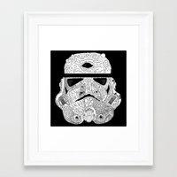 gore Framed Art Prints featuring Gore Trooper Blk/Wht by Josh Ln