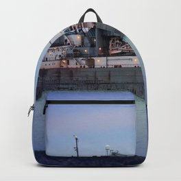 Great Lakes Freighter At Sunset - 2 Backpack