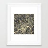 cincinnati Framed Art Prints featuring Cincinnati map by Map Map Maps
