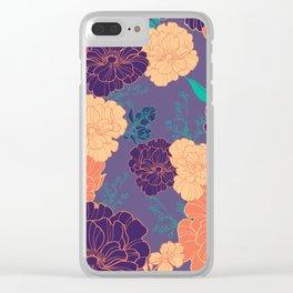 Purple Orange Anemone Clear iPhone Case