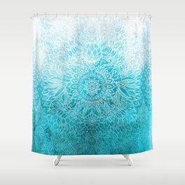 Fade to Teal - watercolor + doodle Shower Curtain