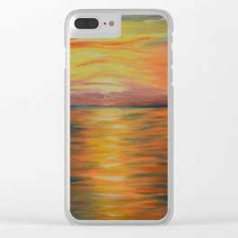 Abstract Art, Ocean Sunset, Seascape Painting Clear iPhone Case
