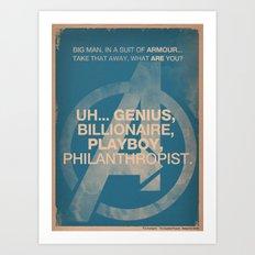 Tony Stark from The Avengers Art Print