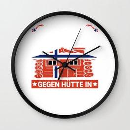 Lustiger Spruch Tausche Arbeitsplatz gegen Hütte in Norwegen Wall Clock
