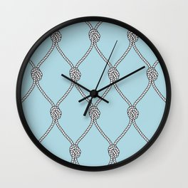 Rope Knots Print- Light Blue Wall Clock