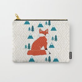 Fox on cream geometric Carry-All Pouch