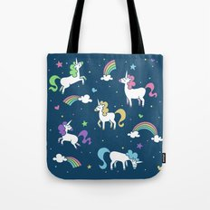 Unicorns and Rainbows - Teal Tote Bag