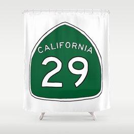 Hand Drawn Green California 29 Highway Sign Napa Valley Shower Curtain