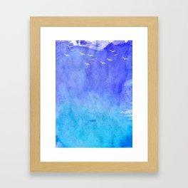 Blue Watercolor Beach Framed Art Print