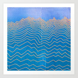 Abstract mountain line art in blue sky grunge textured vintage illustration background Art Print
