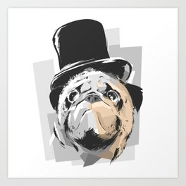 Business Pug Art Print