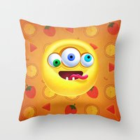 positive Throw Pillows featuring Positive by Keyspice