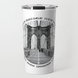 Brooklyn Bridge New York City (black & white with text) Travel Mug