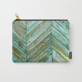 Vintage Blue Wood Carry-All Pouch