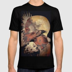 PORTRAIT (Woman and bird) Black MEDIUM Mens Fitted Tee