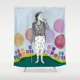 clown and lots of dots Shower Curtain