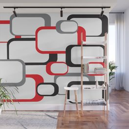 Red Black Gray Retro Square Pattern White Wall Mural