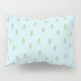 Merry christmas- With snow covered x-mas trees pattern on aqua background Pillow Sham